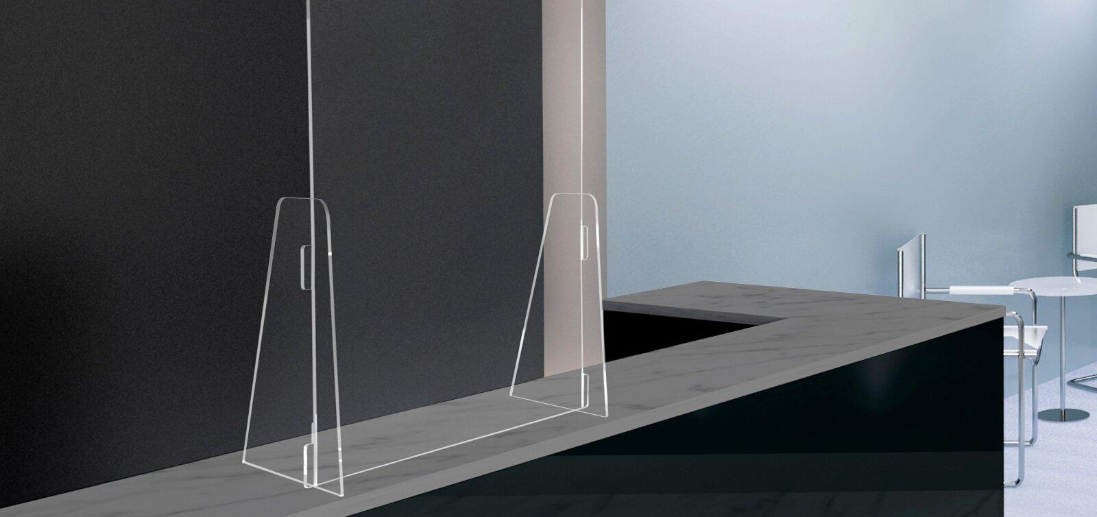 Divisori In Plexiglass Per Esterni parafiato da banco protettivo in plexiglass | qebgrafiche
